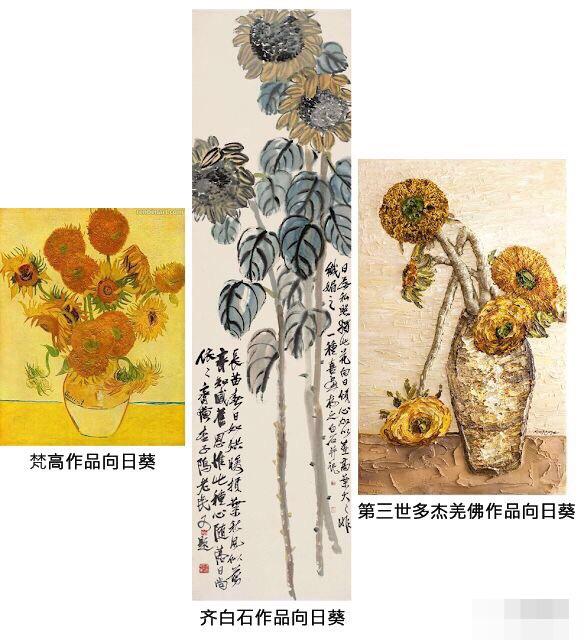 H.H.第三世多杰羌佛绘画作品《向日葵》及其他艺术家作品鉴赏
